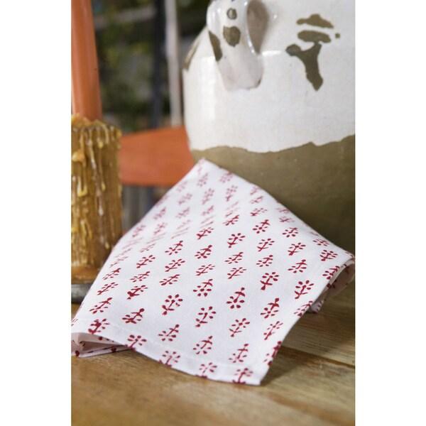 Handmade Classic Handmade Crimson Block Printed Napkins (Set of 2) (India) 26511021