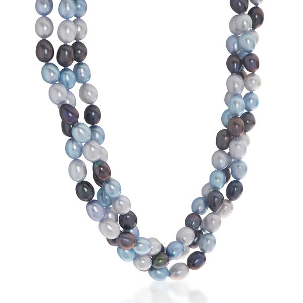 Pearls For You Sterling Silver 18-inch Tri-color Freshwater Pearl Twist Necklace (7-7.5 mm) 26511603