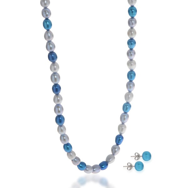 Pearls For You 2pc Multi-Blue Freshwater Pearl Necklace and Earring Set (6-7 mm) 26511792