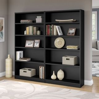 "Porch & Den Classic Black Colony 5-shelf Bookcase (Set of 2) - 36.97""L x 12.00""W x 72.00""H"