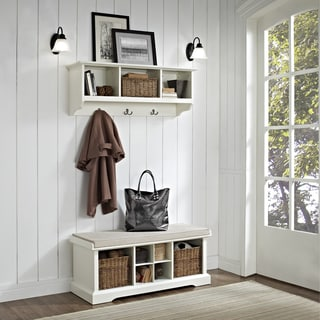 "Brennan 2 Piece Entryway Bench and Shelf Set in White - 41.5""W x 18.25""H x 15""D"