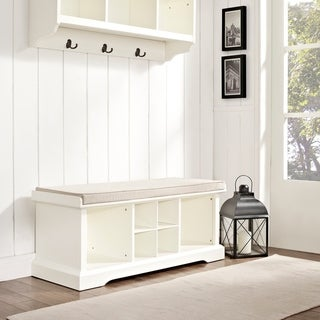 Brennan White Wood Entryway Storage Bench