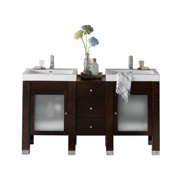 Ronbow Devon Walnut Wood 60-inch Double Bathroom Vanity Set with Ceramic Sinktop and Mirrors 26513699