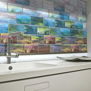 Wavy glass tile backsplash