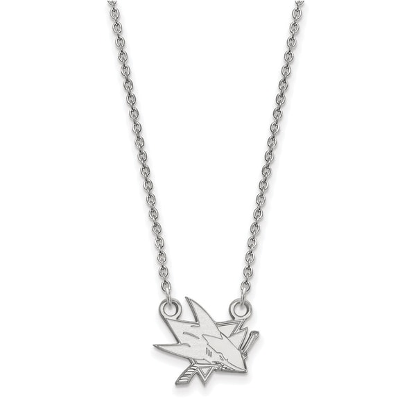 14 Karat White gold NHL LogoArt San Jose Sharks Small Pendant with Necklace 26522600