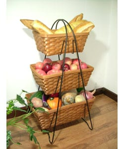 International Caravan Three-tier Iron and Chip Wood Storage Basket