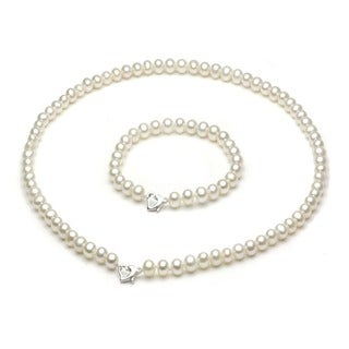 DaVonna Sterling Silver Freshwater Cultured Pearl Necklace/ Bracelet Set (5-6 mm/ 18 in/ 7 in)