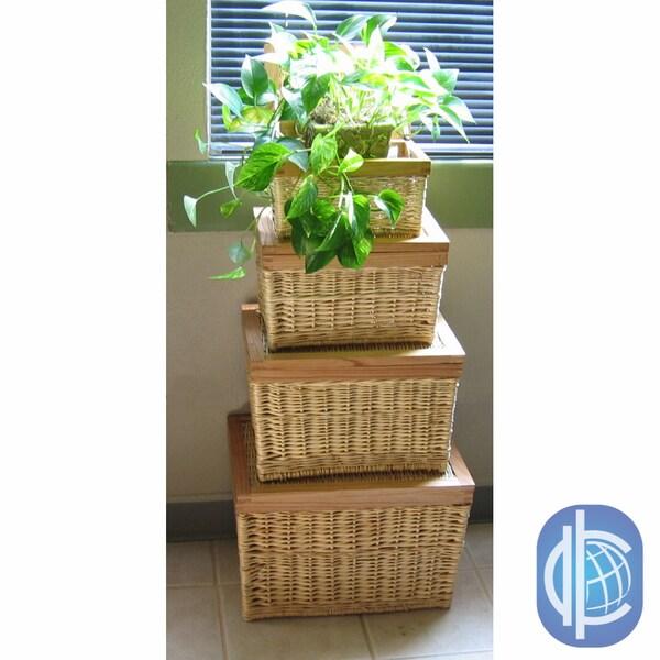 International Caravan Set of Four Oak-rimmed Willow Storage Baskets