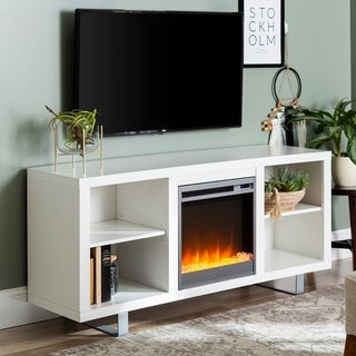 58-inch Modern Fireplace TV Stand Console with Open Shelving