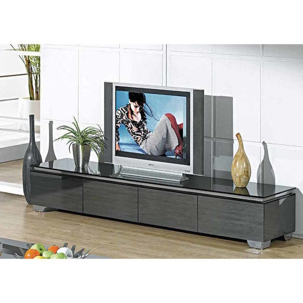 Creative Images International Neos Collection Grey Wood and Mirrored Glass TV Stand 26612699