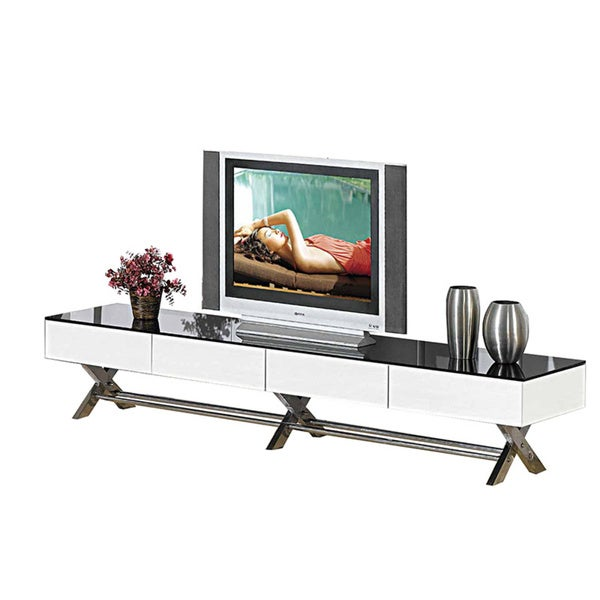 Creative Images International Neos Collection Mirrored Glass TV Stand with Drawers and Storage Space 26612701