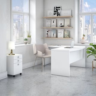 Echo L Bow Front Desk with Mobile File Cabinet from Office by kathy ireland®