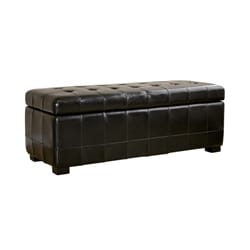 Black Bi-cast Leather Tufted Storage Bench