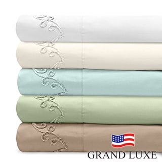 Grand Luxe 300 Thread Count Egyptian Cotton Deep Pocket Sheet Set with Chenille Embroidered Scroll D