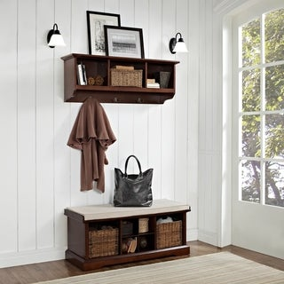 "Brennan 2 Piece Entryway Bench and Shelf Set in Mahogany - 41.5""W x 18.25""H x 15""D"