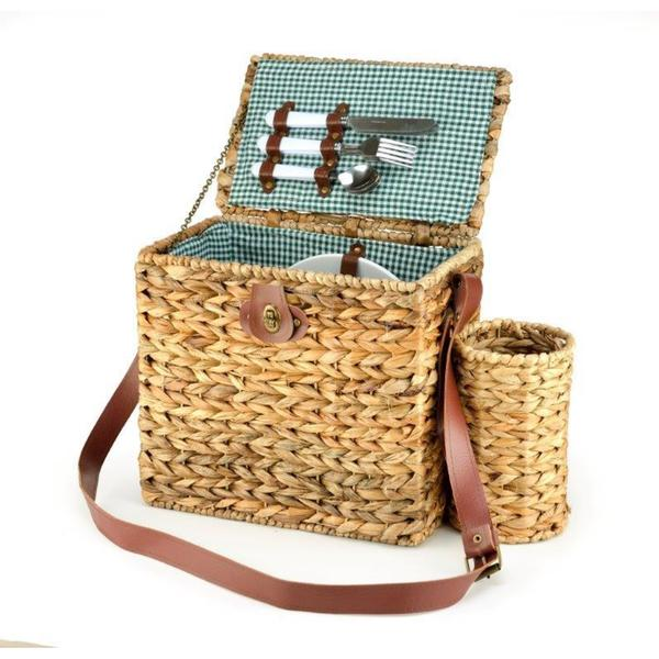 Trademark Innovations Wicker Picnic Basket with Wineholder and Service for 2 26699720