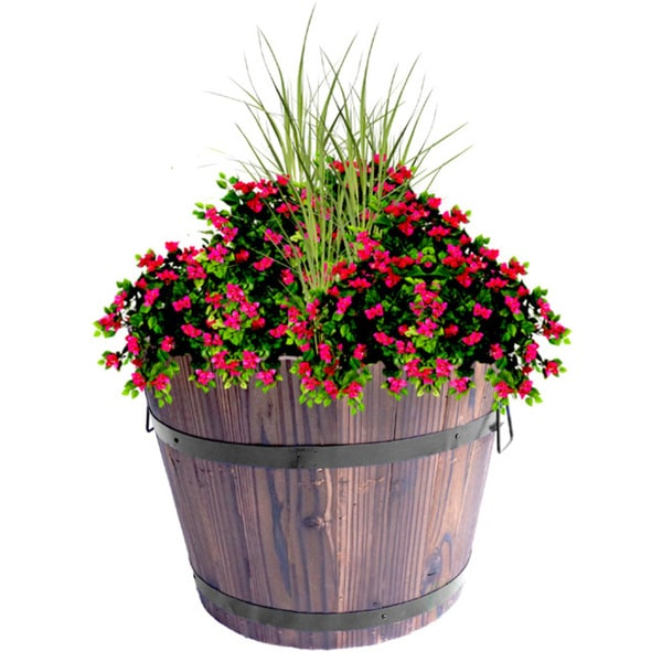 Extra Large Wooden Whiskey Barrel Planter 26700348
