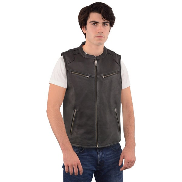 MEN'S ZIPPER FRONT LEATHER VEST WITH COOL TECH LEATHER 26700819