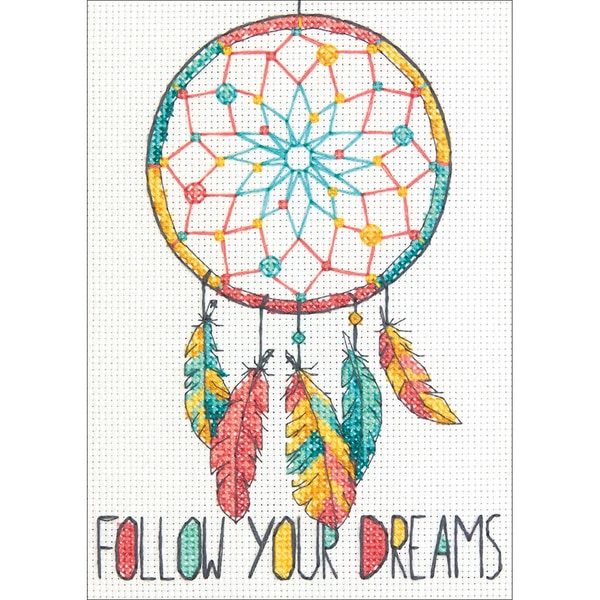 "Dreamcatcher Mini Counted Cross Stitch Kit-5""X7"" 14 Count 26700982"
