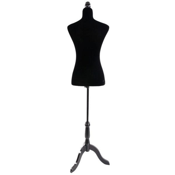 Stand Half-Length Fiberglass & Brushed Fabric Coating Lady Model for Clothing Display Black 26701778