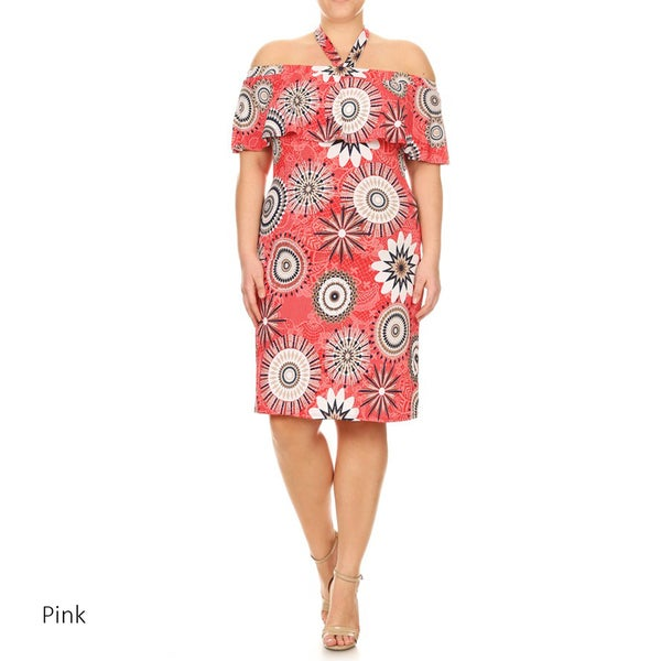 Women's Plus Size Medallion Flounce Mid-Length Dress 26726165