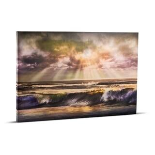 American Art Decor Waves of Light Beach Sunrise Sunset Wrapped Photo Print Wall Art on Canvas
