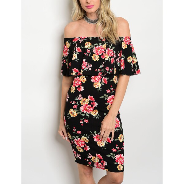 JED Women's Off Shoulder Ruffled Stretchy Bodycon Floral Dress 26736195