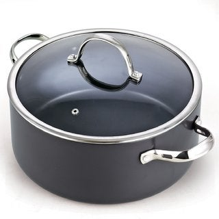 Cooks Standard 7 Quart Hard Anodized Nonstick Dutch Oven Casserole Stockpot with Lid, Black