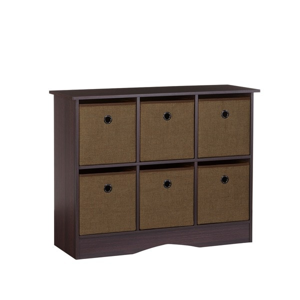 RiverRidge Espresso/ Brown or Grey 6-cubby Storage Cabinet with Bins 26751062
