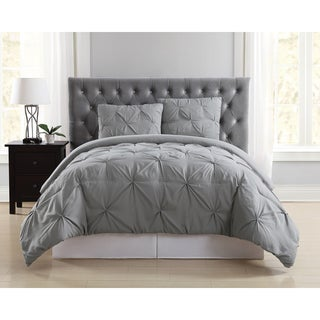 Truly Soft Pinch Pleat Solid 3 Piece Comforter Set