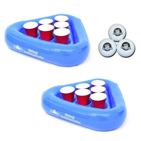 GoPong Pool Pong Rack Floating Beer Pong Set, Includes 2 Rafts and 3 Pong Balls 26752774