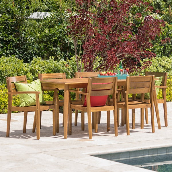 Stamford Outdoor 7-piece Rectangle Acacia Wood Dining Set by Christopher Knight Home -  300519