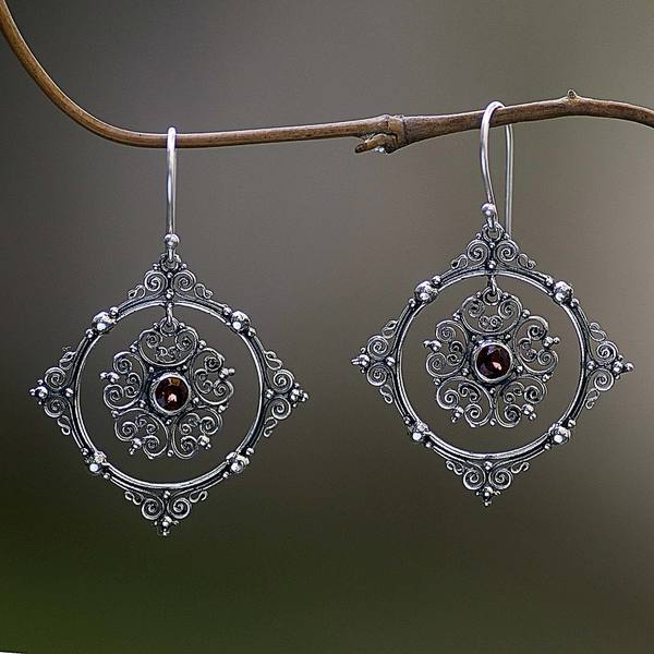 Handcrafted Sterling Silver 'Red Vibrations' Garnet Earrings (Indonesia) 26766774