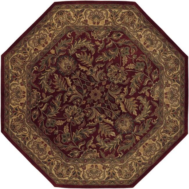 Hand-tufted Elegance Burgundy Wool Rug (8' Octagon)