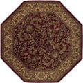 Hand-tufted Elegance Burgundy Wool Rug (8' Octagon)