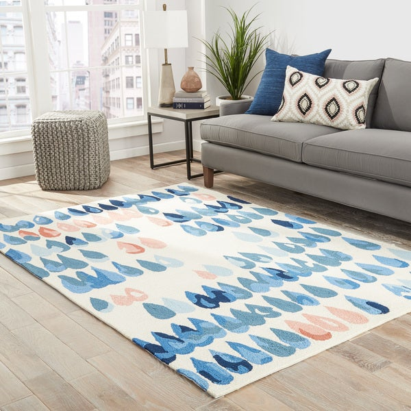 "Dew-Drop Indoor/ Outdoor Geometric Ivory/ Blue/ Peach Area Rug (5' X 7'6"") 26783637"