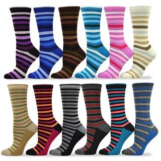 TeeHee Women's Value 12-Pack Assorted Fun Striped Crew Socks