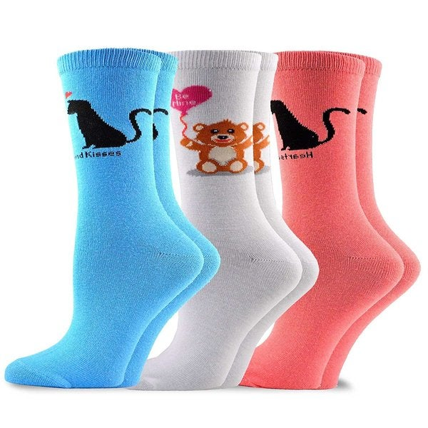 TeeHee Valentine's Day Love Women's Crew Socks 3-Pack