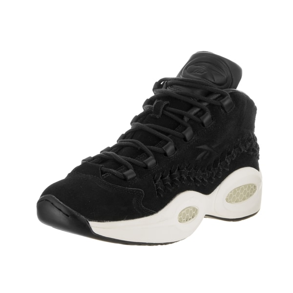 Reebok Men's Question Mid HOF Black Suede Basketball Shoes 26812923
