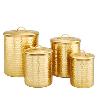 Décor Champagne Hammered Storage Canister Set