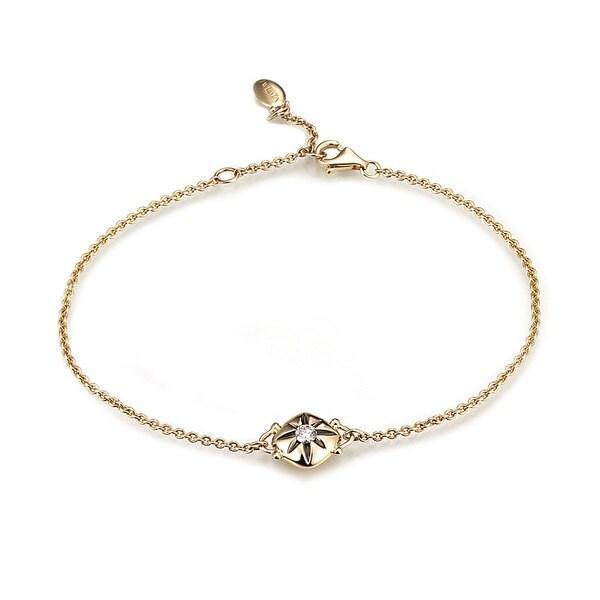Diamond Cushion Chain Bracelet in 14k Yellow Gold (0.10 cts) 26847192
