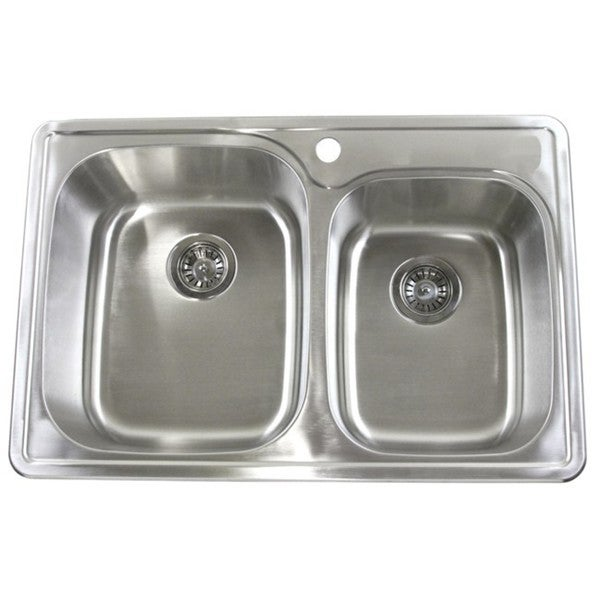 33-Inch x 22-Inch Stainless Steel 18-gauge Double Bowl 60/40 Drop-In Top Mount  Kitchen Sink - Silver 26849472