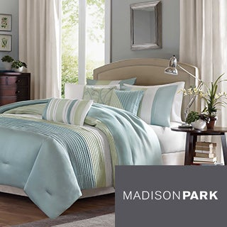 Madison Park Chester Green/Blue 6-piece Duvet Cover Set