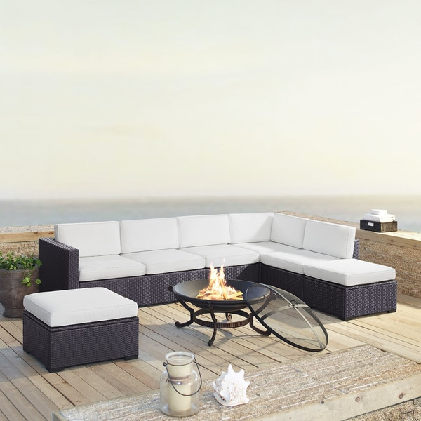 Crosley Furniture Biscayne White Wicker 6-piece Outdoor Seating Set