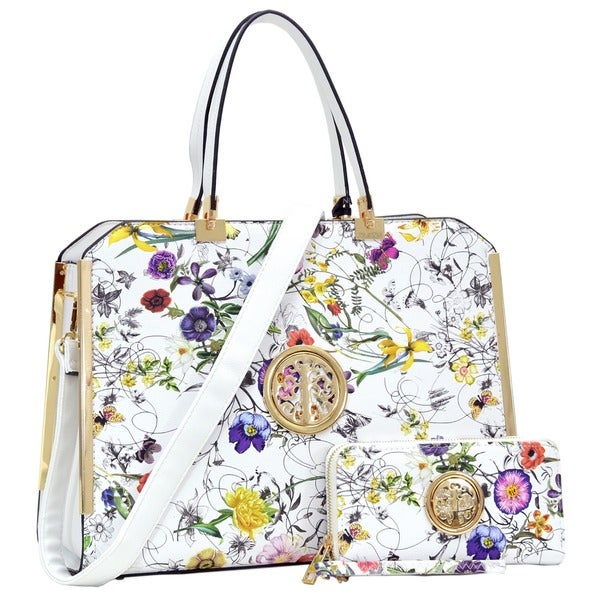 Dasein Flower Pattern/ Striped Faux Leather Briefcase with Matching Wallet 26873043