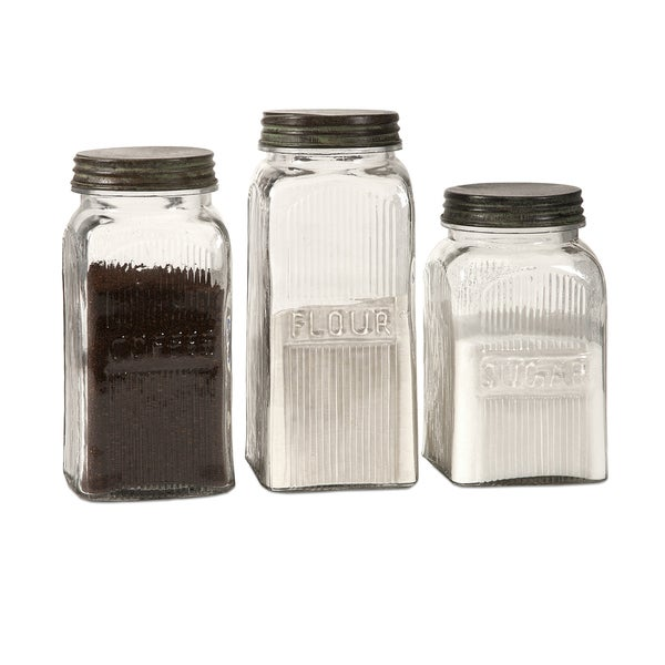 Stylish Set Of 3 Dyer Glass Canisters 26873403