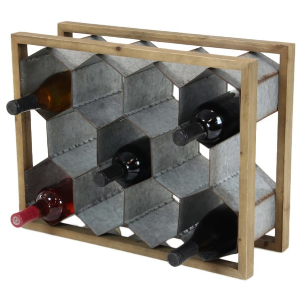 Benzara Wine Holder In Rustic Finish 26874285