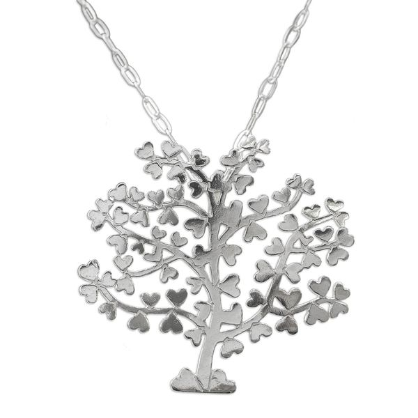 Sterling Silver Pendant Necklace, 'Tree of Love' (Mexico) 26880444