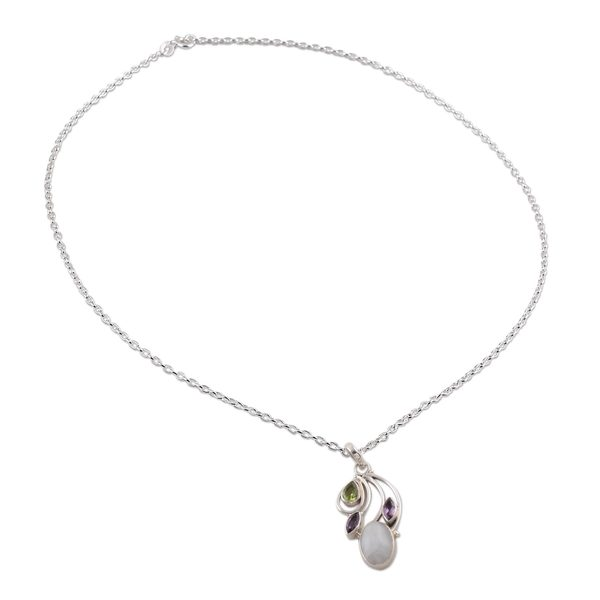 Multi-Gemstone Pendant Necklace, 'Majestic Harmony' (India) 26880767