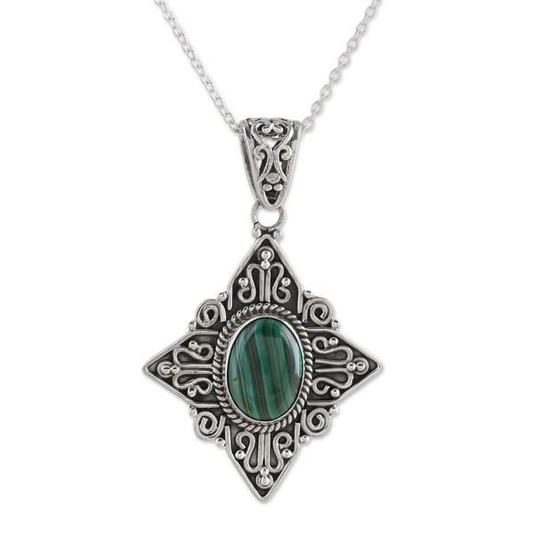 Malachite Pendant Necklace, 'Green Starlight' (India) 26880879